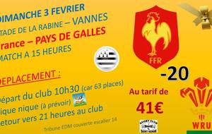 Match U20 France - Pays de Galles à Vannes